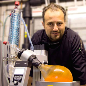 Chef Mario Waldispühl with KNF RC 900 Rotary Evaporator